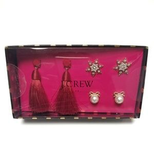 J. Crew snowflake, bow & tassel earrings gift set